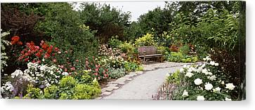 Bench In A Garden, Olbrich Botanical Canvas Print by Panoramic Images