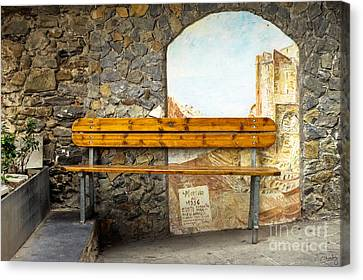 Bench In Riomaggiore Canvas Print by Prints of Italy