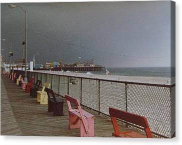 Benches Of Seaside Heights Nj Canvas Print by Joann Renner