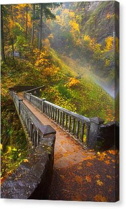 Benson Bridge Fall Colors Canvas Print by Darren  White