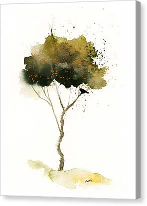Bent Tree With Blackbird Canvas Print by Vickie Sue Cheek