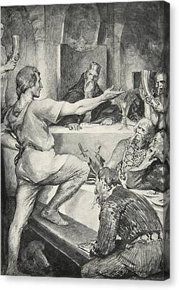 Beowulf Replies Haughtily To Hunferth Canvas Print by John Henry Frederick Bacon