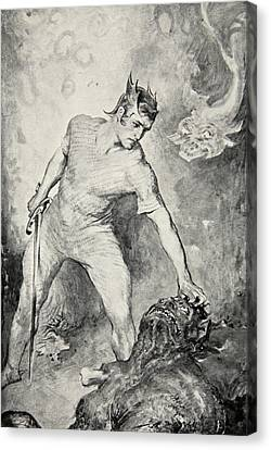 Beowulf Shears Off The Head Of Grendel Canvas Print by John Henry Frederick Bacon