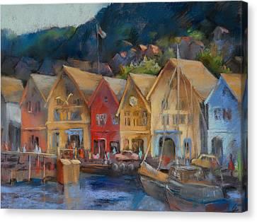 Bergen Bryggen In The Early Morning Canvas Print by Joan  Jones