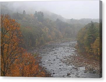 Berkshires Mohawk Trail Deerfield River Autumn Fog Canvas Print by John Burk