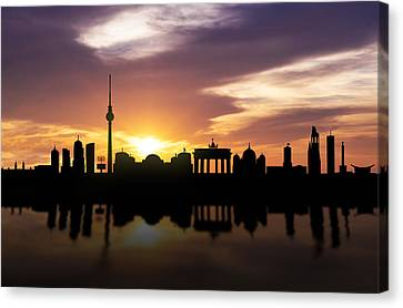 Berlin Sunset Skyline  Canvas Print by Aged Pixel