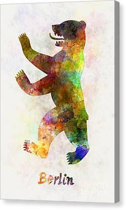Berlin Symbol In Watercolor Canvas Print by Pablo Romero