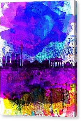 Berlin Watercolor Skyline Canvas Print by Naxart Studio