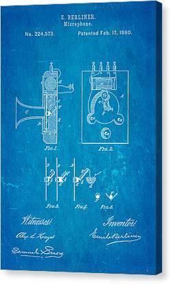 Berliner Microphone Patent Art 1880 Blueprint Canvas Print by Ian Monk