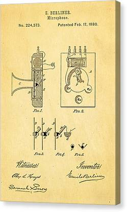 Berliner Microphone Patent Art 1880 Canvas Print by Ian Monk