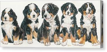 Bernese Mountain Dog Puppies Canvas Print by Barbara Keith