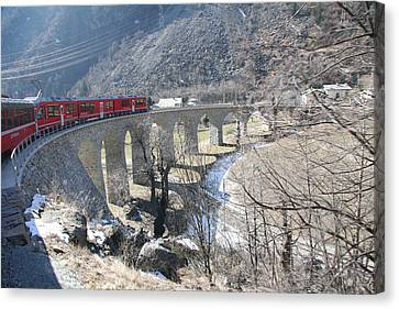 Canvas Print featuring the photograph Bernina Express In Winter by Travel Pics