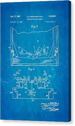 Berninger Reprojecting Ball Bumper 2 Patent Art 1967 Blueprint Canvas Print by Ian Monk