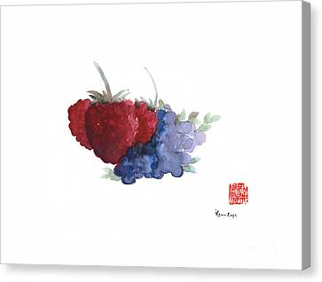 Berries Red Pink Black Blue Fruit Blueberry Blueberries Raspberry Raspberries Fruits Watercolors  Canvas Print by Johana Szmerdt