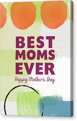 Best Moms Card- Two Moms Greeting Card Canvas Print by Linda Woods