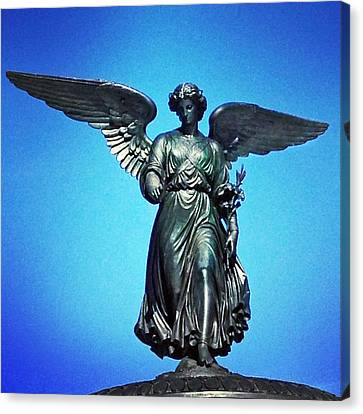 Bethesda Fountain Angel Central Park Ny Canvas Print by Kathleen Anderle