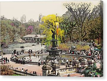 Bethesda Fountain Central Park Nyc Canvas Print by Linda  Parker