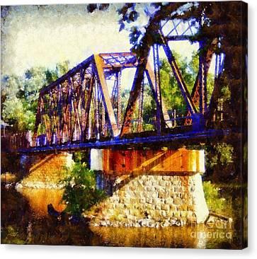 Train Trestle Bridge Canvas Print by Janine Riley