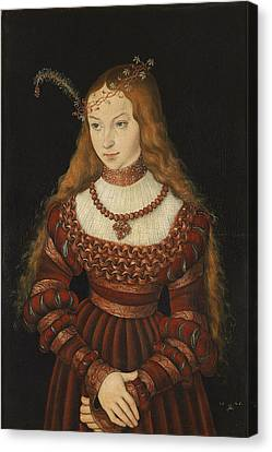 Betrothal Portrait Of Sybille Of Cleves, 1526-7 Oil On Panel Canvas Print by Lucas, the Elder Cranach