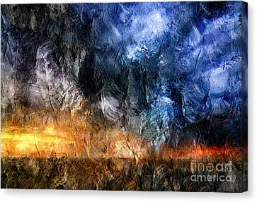 Between Two Giants Abstract Canvas Print by Georgiana Romanovna