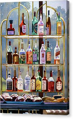 Beverly Hills Bottlescape Canvas Print by Mary Helmreich