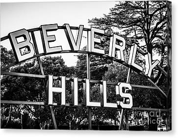 Beverly Hills Sign In Black And White Canvas Print by Paul Velgos