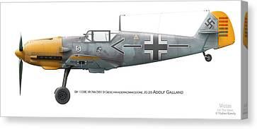 Bf 109e W.nr.5819 Geschwaderkommodore Jg 26 Adolf Galland Canvas Print by Vladimir Kamsky