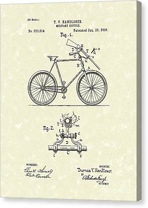 Bicycle 1896 Patent Art Canvas Print by Prior Art Design
