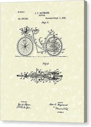 Bicycle 1906 Patent Art Canvas Print by Prior Art Design