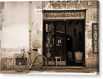 Bicycle And Reflections At L'antiquari Bar  Canvas Print by RicardMN Photography