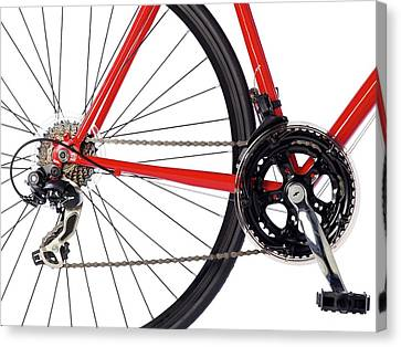Bicycle Chain And Back Wheel Canvas Print by Science Photo Library
