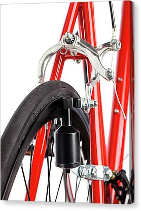 Bicycle Dynamo Fixed To Back Wheel Canvas Print by Science Photo Library