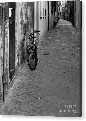 Bicycle In Lucca Canvas Print by Prints of Italy