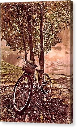 Bicycle In The Park Canvas Print by Debra and Dave Vanderlaan