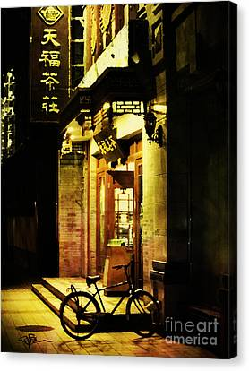 Bicycle On The Streets Of Beijing At Night Canvas Print by Jani Bryson
