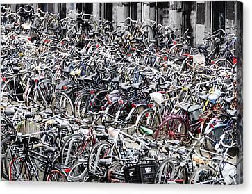 Bicycle Parking Lot Canvas Print by Oscar Gutierrez