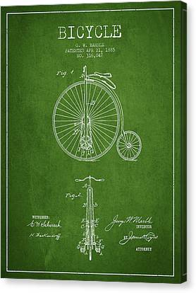 Bicycle Patent Drawing From 1885 - Green Canvas Print by Aged Pixel