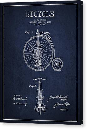 Bicycle Patent Drawing From 1885 - Navy Blue Canvas Print by Aged Pixel
