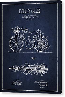 Bicycle Patent Drawing From 1896 - Navy Blue Canvas Print by Aged Pixel