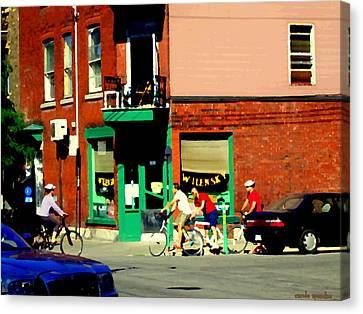 Bicycle Path At Wilenskys Diner Rue Fairmount And Clark Montreal Cafe Street Scene Carole Spandau Canvas Print by Carole Spandau