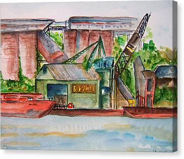 Big Andy Terminal On Ohio River Canvas Print by Elaine Duras