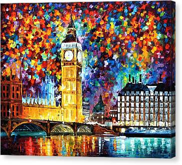 Big Ben London - Palette Knife Oil Painting On Canvas By Leonid Afremov Canvas Print by Leonid Afremov