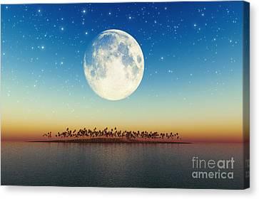 Big Full Moon Behind Island Canvas Print by Aleksey Tugolukov