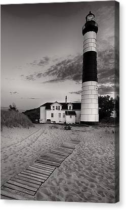 Big Sable Point Lighthouse In Black And White Canvas Print by Sebastian Musial