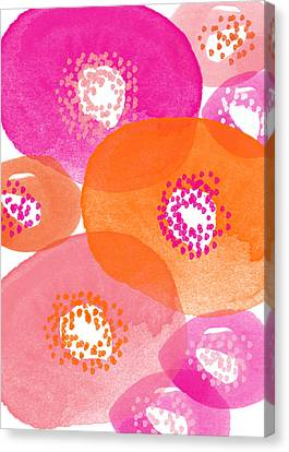 Big Spring Flowers- Contemporary Watercolor Painting Canvas Print by Linda Woods