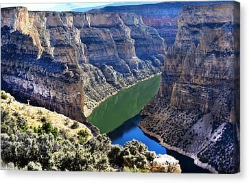 Bighorn River And Canyon Canvas Print by Jeffrey Hamilton