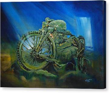 Bike In A Different Dimension Canvas Print by Ottilia Zakany