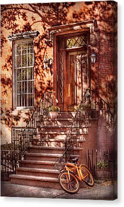 Bike - Ny - Greenwich Village - An Orange Bike  Canvas Print by Mike Savad