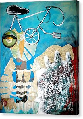 Bike Owl Canvas Print by Amy Sorrell