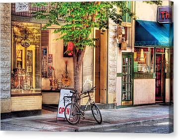 Bike - The Music Store Canvas Print by Mike Savad